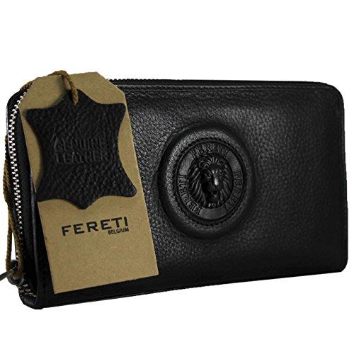 FERETI ® echtes Leder schwarz Damen Geldbörse Damen Portemonnaie Damen Geldbeutel - Lang Leder