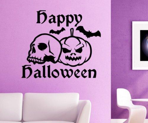 Wandtattoo Halloween Skull Spinne Netz Kürbis Fledermaus Tür Aufkleber 5O068, Farbe:Lavendel glanz;Hohe:25cm - Lavendel Kürbis