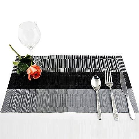 DEKOMORE 6 Pcs Placemats Set Washable Placemat 45x30 cm PVC Non Slip Table Mat