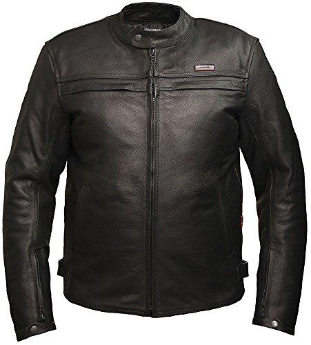 Giacca in pelle da moto da Skintan da uomo rinforzati CE Black XX-Large