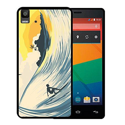 WoowCase Bq Aquaris E5s - E5 4G Hülle, Handyhülle Silikon für [ Bq Aquaris E5s - E5 4G ] Welle & Surfen Handytasche Handy Cover Case Schutzhülle Flexible TPU - Schwarz