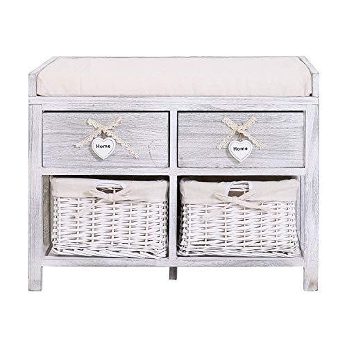 Rebecca mobili re4553 panchina contenitore di legno, seduta imbottita con 2 cassetti e 2 ceste vimini, bianco, stile vintage, arredo camera bagno, 47 x 62 x 34 cm