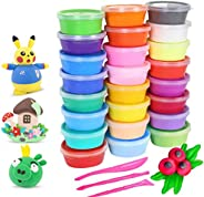 24 Colors Soft Super Light Modeling Polymer Clay Set, Air Dry Clay Kit, Wonderful DIY Educational Creative Gif
