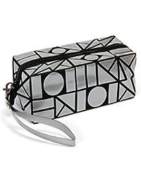 Luminous Lingge PU Leather Cosmetic Bags Makeup Bag Colorful Geometric Design Clutch (Grey)