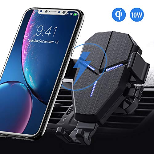 QI Caricatore Wireless Auto, Avolare Gravità Ricarica Wireless da Auto Carica Rapida Supporto, 10W per Galaxy S9/S9+/S8/S8+/Note 8, 7.5W per iPhone XS/XS Max/XR/X/8/8 Plus, 5W con 1*Cavo USB