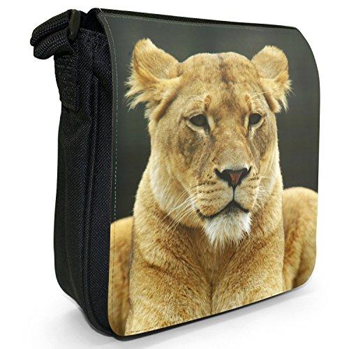African Lion Big Cat-Borsa a tracolla in tela, piccola, colore: nero, taglia: S Nero (African Lioness Sitting)