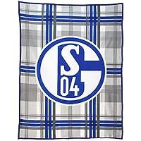 FC Schalke 04 Fleecedecke mit Logo auf Karomuster in 150x200cm aus 100% Polyester