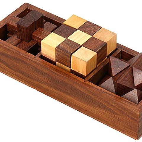Bit e pezzi - rompicapo in legno set di tre - classica macchia di legno di teak progettata - rompicapi puzzle di legno -17.8 x 6.4 x 6.4 cm