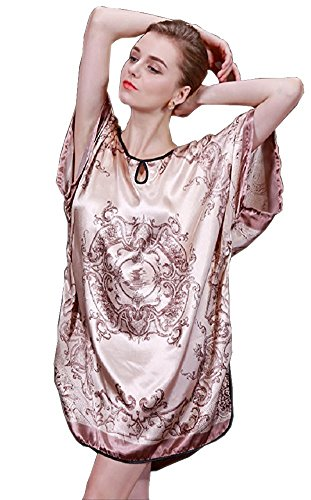 BigForest Femmes Satin Soie Batwing Sleeve Pajama v¨ºtements de nuit Peignoir Dres Set B Grey