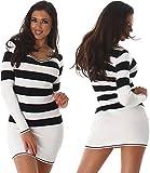 Damen Strickkleid & Long-Pullover mit V-Ausschnitt und Streifen Einheitsgröße 8 verschieden Farben (34-38) Jela London Farbe Weiss, Größe One Size