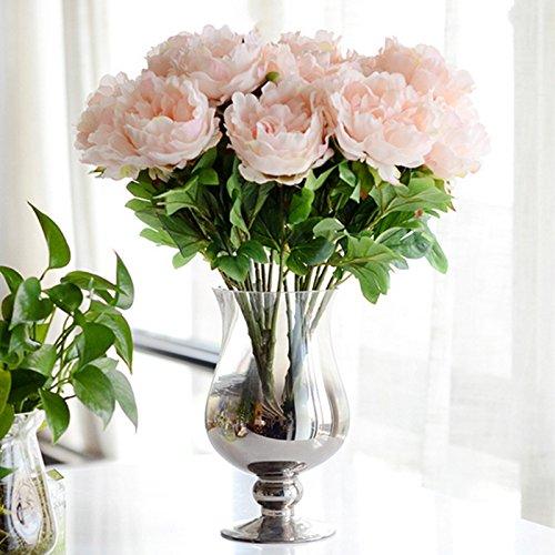 Kicode Pfingstrose Blumen Künstlicher Blumenstrauß Plastikseide Mehrfarbig Hochzeit Home Party Dekor und Garten Dekoration 5 Kopf 19
