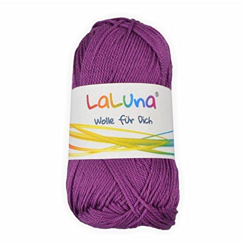Basic Wolle lila 100% Baumwolle 50g - 125m, Strick und Häkelgarn der Marke LaLuna® (Strick-stoff Lila)