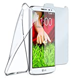 moex Silikon-Hülle für LG G2 Mini | + Panzerglas Set [360 Grad] Glas Schutz-Folie mit Back-Cover Transparent Handy-Hülle LG G2 Mini Case Slim Schutzhülle Panzerfolie