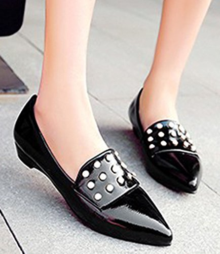 Aisun Femme Mode Perle Bout Pointu Ballerines Noir