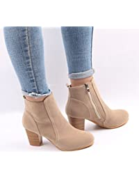 ZKOO Botas Cortas Mujeres Botines de Tacón Cremallera Zapatos Boots con Cálido Forro Otoño Invierno
