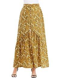 0c44ba3d73ac Maxirock Damen Sommer Vintage Blumendrucken Plissee A Linie Rock Unikat  Style Elegant Casual High Waist Geöffnete