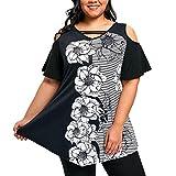 MRULIC Damen Plus Size Frauen Drucken Kurzarm Casual T-Shirt Top BluseGeschenk zum Muttertag(Schwarz, EU-48/CN-2XL)