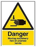 vsafety 65018bc-r pericolo Moving macchinari rischio di schiacciamento mani Warning Sign, Plastica rigida, verticale, 300mm x 400mm, colore: nero/giallo