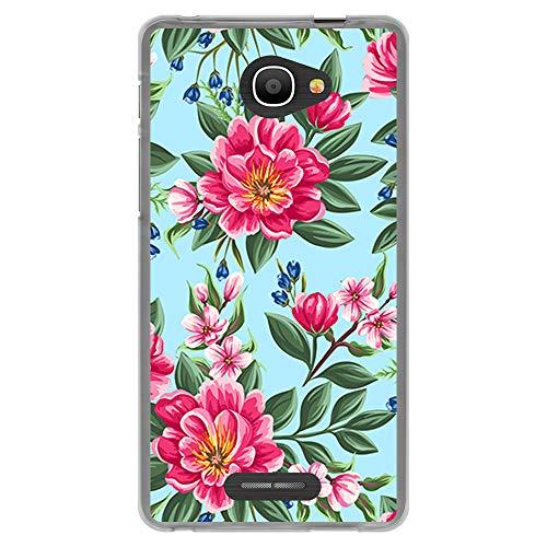 BJJ SHOP Transparent Hülle für [ Alcatel Pop 4S ], Flexible Silikonhülle, Design: Rosa Blumen auf blauem Hintergrund