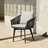 BBSYHUMM Indoor Wicker Loom Chair, Handgefertigter Hochwertiger Korbstuhl/Outdoor/Bar/Courtyard Lounge Chair - Stuhlgröße: 60x60x77cm (Color : Black 60x60x77cm)