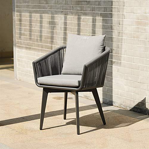 BBSYHUMM Indoor Wicker Loom Chair, Handgefertigter Hochwertiger Korbstuhl/Outdoor/Bar/Courtyard Lounge Chair - Stuhlgröße: 60x60x77cm (Color : Black 60x60x77cm) -