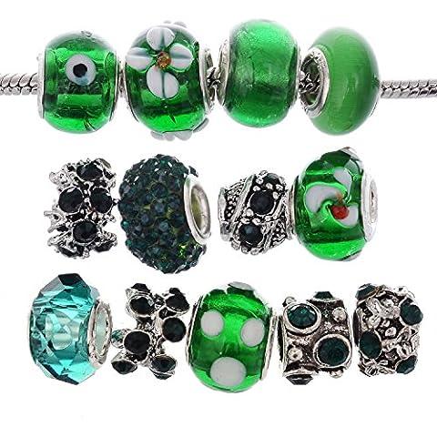 RUBYCA Murano Lampwork Charm Glass Beads Tibetan Crystal European Bracelet Mix Assortment Dark Green 15Pcs by RUBYCA