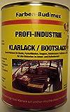 Farben-Budimex Profi-Industrie Klarlack / Bootslack / farblos / seidenmatt / 750 ml / Spezial Klarlack für Boote, Parkettböden, Treppen, Holzterassen, Möbel u.v.m. / für alle Holzarten im Innen- u. Außenbereich / Alkydharzlack ( Lösemittelbasis ) / gute mechanische Belastbarkeit / Lichtbeständig / sehr guter Verlauf u. Füllkraft / ausgezeichnete Kratz- u. Haftfestigkeit / High-Solid Klarlack für höchste Ansprüche