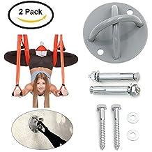 Soporte de suspensión, Soporte de techo en X para entrenamiento de suspensión Anclaje de techo - montaje en pared para correas , anillos de gimnasia, columpios y hamaca de yoga, banda de resistencia, cuerda de batalla (2 Set)