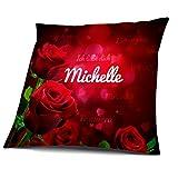 Kissen mit Füllung, Motiv Rosen mit Name Michelle, vollflächig bedruckt 40 x 40 cm, Namenskissen, Geschenkidee