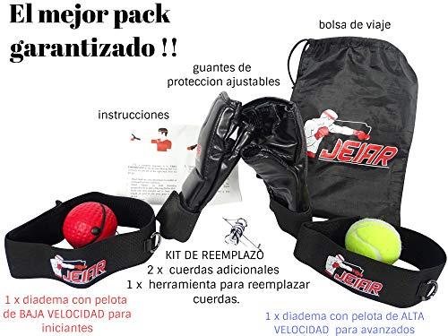 Jeiar Pelota de Boxeo para Cabeza con Diadema y Banda Elastica + Guantes MMA + Saco de Transporte + Kit de Reparación & Equipo Boxeo de Entrenamiento para Mejorar los Reflejos
