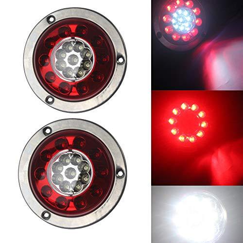 Hehemm pour remorque de voiture Truck 19 LED ronde Queue lumière de frein Turn Signal Feu Stop côté lampe Rouge Blanc Bague plaqué 10–30 V (lot de 2)