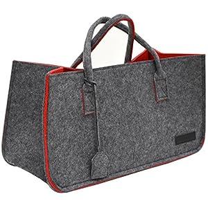 DuneDesign Schwerlast Filztasche bis 25kg – XL Filzkorb für Kaminholz – Shopper Einkaufstasche Grau