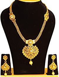 JP Fashions American Diamond And Pearl Long Strand Haram Necklace With American Diamond And Pearl Earrings Jewellery...