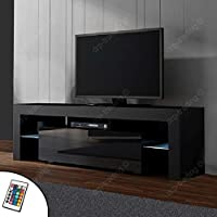 Modern TV Unit 160cm Cabinet Black Matt and Black High Gloss FREE LED RGB Lights