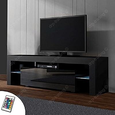 Modern TV Unit 160cm Cabinet Black Matt and Black High Gloss FREE LED RGB Lights
