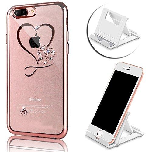 iPhone 7 Plus Hülle, Vandot Plating Glänzend TPU Case Cover für iPhone 7 Plus Schutzhülle Transparent Luxus Diamant Rhinestone Bling Muster Pattern Telefonkasten Abdeckung Silikon Weich Dünnen Handy S Color 5