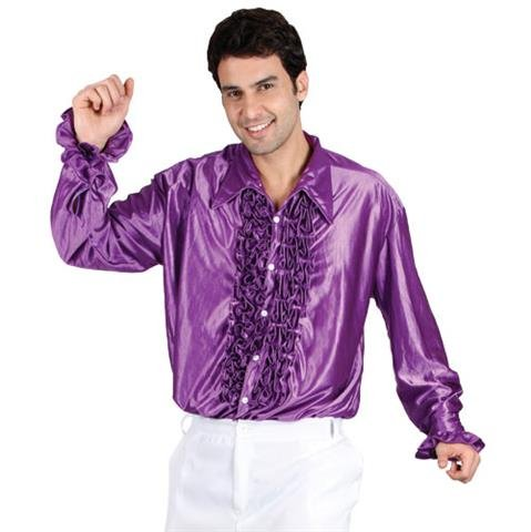 Men's Purple Disco Ruffle Shirt for 70s Fancy Dress.