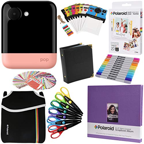 Polaroid POP Sofortbildkamera (Rosa) Geschenkpaket + ZINK Papier (20 Blatt) + 8x8