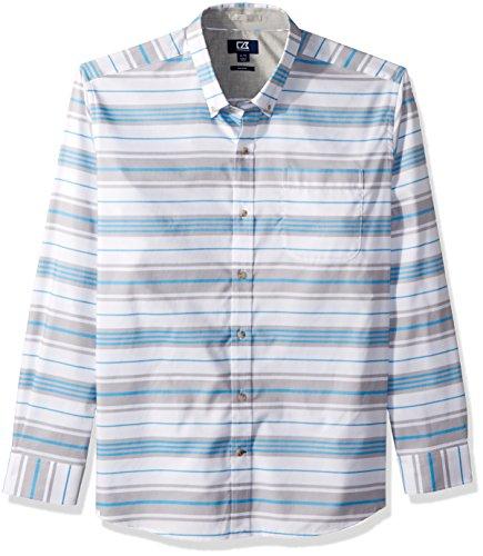 Cutter & Buck Herren Non-Iron Parker Wide Stripe Collared Shirt Button Down Hemd, Poolside, X-Groß -