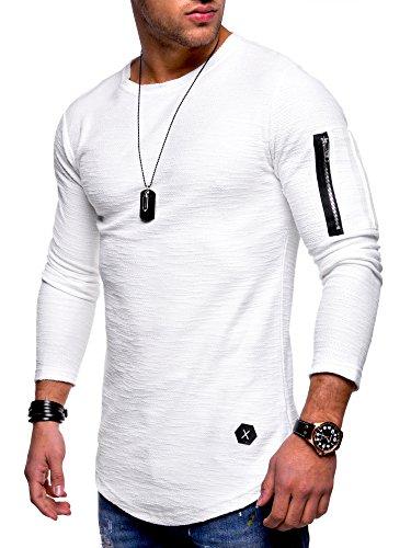 MT Styles Herren Oversize Sweatshirt Pullover Hoodie MT-7310 [Weiß, S]