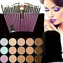 JasCherry 20 Pcs brochas de maquillaje #4 + 15 Colores Corrector Camuflaje Paleta de Maquillaje Cosmética Crema - Perfecto para Sso Profesional y Diario