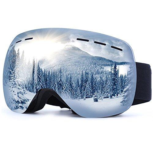 VILI SUN Skibrille Für Damen und Herren, Snowboard Brille Mit Anti-Fog und UV Schutz (Silber)