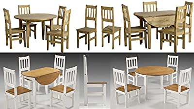 Rico or Corona Round Drop Leaf Dining Table & 4 Chairs-Distressed Pine & White