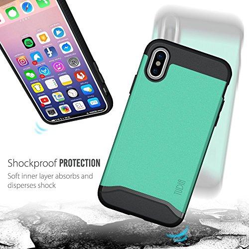 iPhone X Coque, TUDIA Slim-Fit MERGE Double Couche Protecteur Coque pour Apple iPhone X (Noir Mat) Vert