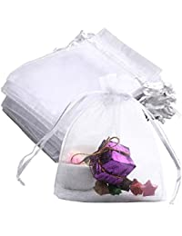 Siming 50 Pieces White Organza Gift Bags, 10 * 12CM Wedding Favor Bags Jewelry Pouches Candy Bag
