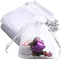 Siming - 50 bolsas de organza para regalo, 10 x 12 cm, color blanco