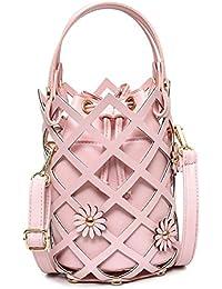 Señoras Con Cordón Perforado Bolsa De Cubo Bolso De Hombro Mensajero Moda Clásico Elegante Bolso