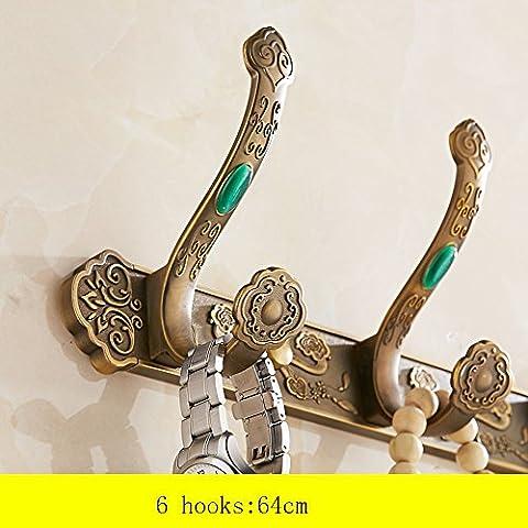 Retro estilo europeo antiguo gancho Gancho para Colgar Escudo Gancho de pared Armario Baño puerta detrás de la pared de la toalla Gancho Gancho Fila ( Tamaño : 6 )