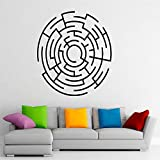 yiyiyaya Labyrinth Labyrinth Wandtattoo Wohnzimmer Wohnkultur Vinyl Aufkleber Abstrakte Muster Kunst Aufkleber Wandbild Schlafzimmer Kreative Moderne grau 42x42 cm