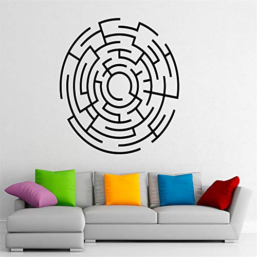 yiyiyaya Labyrinth Labyrinth Wandtattoo Wohnzimmer Wohnkultur Vinyl Aufkleber Abstrakte Muster Kunst Aufkleber Wandbild Schlafzimmer Kreative Moderne rot 57x57 cm